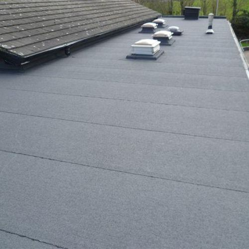 New white rubber roofing