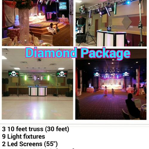 The Diamond Package is your larger set up, it is designed for 150+ guest size reception, (we offer enough sound for massive events also).