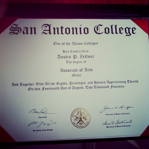 My Associate of Arts in Music degree from San Antonio College!