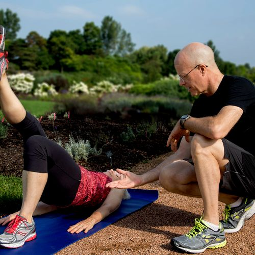 I train in homes or in nearby parks. Here I'm showing a client the single leg hip bridge.