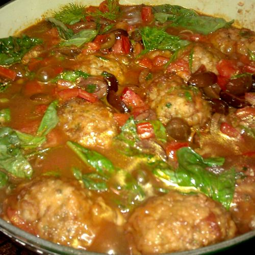 Italian Meatballs with Olives and Basil