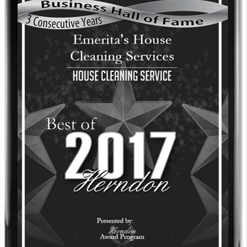 Emerita's House Cleaning Services has been selected three years in a row for the 2017 Best of Herndon Awards for House Cleaning Service and now qualifies for the Herndon Business Hall of Fame.
