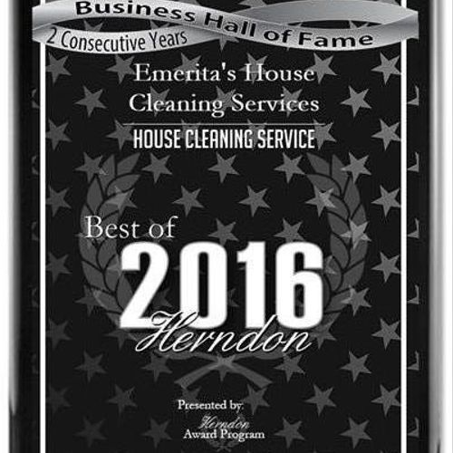 Emerita's House Cleaning Services has been selected two years in a row for the 2016 Best of Herndon Awards for House Cleaning Service
