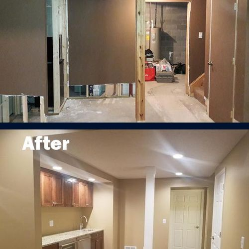 Turn your unfinished basement into a wet bar, using our Total Basement Finishing™ system.