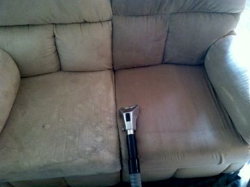 Upholstered furniture cleaning, using steam, hot water extraction & hypoallergenic solution.