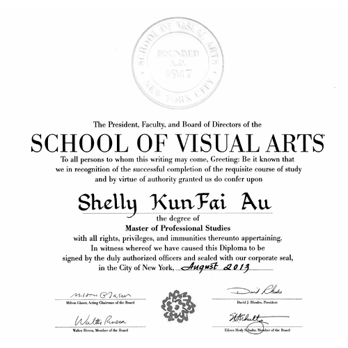 I received my Masters of Professional Studies in Digital Photography from the School of Visual Arts in New York where I also received the Paula Rhodes Honors Award for Excellence in 2013.