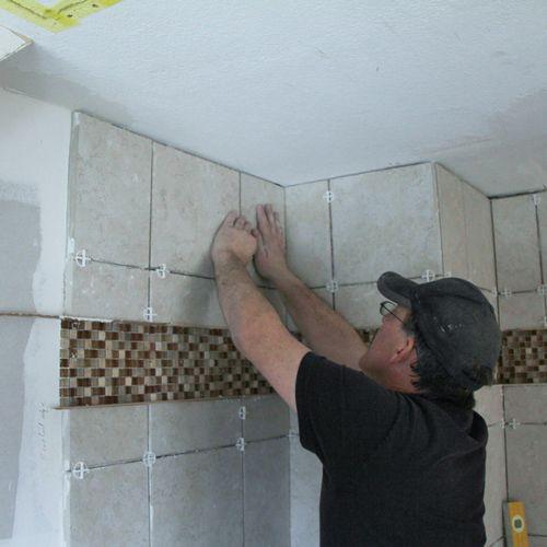 Installing shower tile