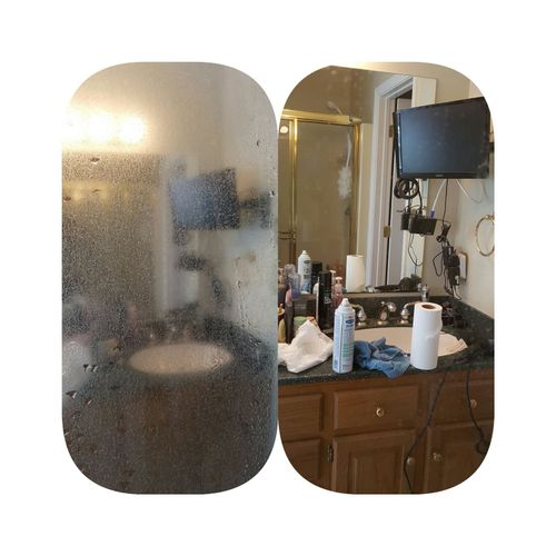 Glass shower doors before and after