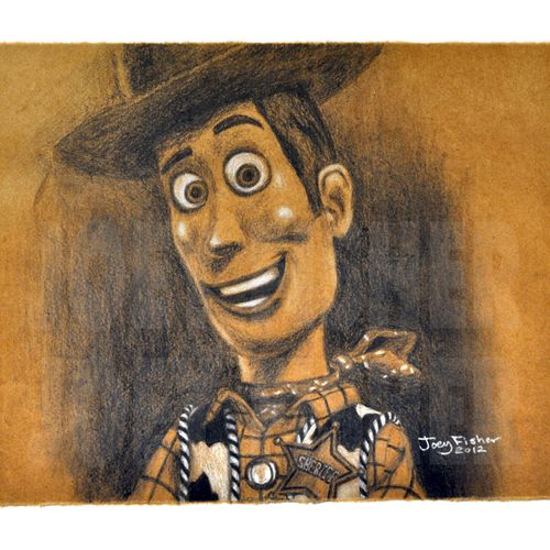 Woody from Toy Story created in charcoal on brown paper.