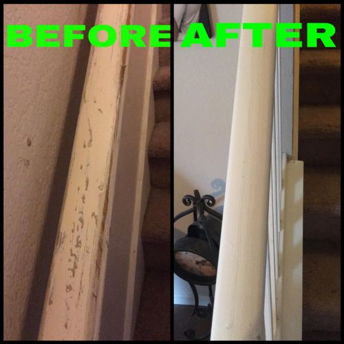 Stair railing, Before & After