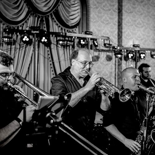 Our horn section, Greenville wedding.