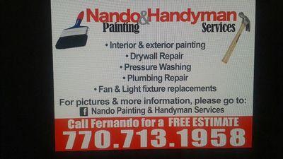 Avatar for Nando painting and Handyman. Cumming, GA Thumbtack