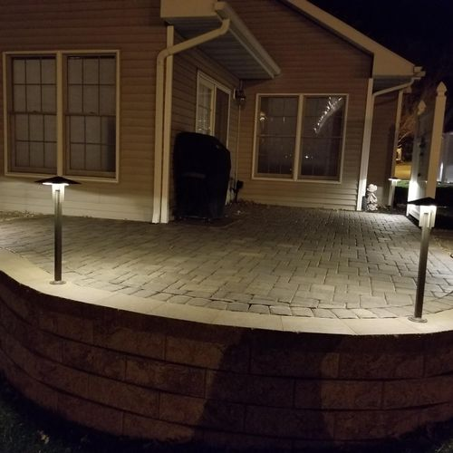 Paver patio with Led Lighting, all with a concete base