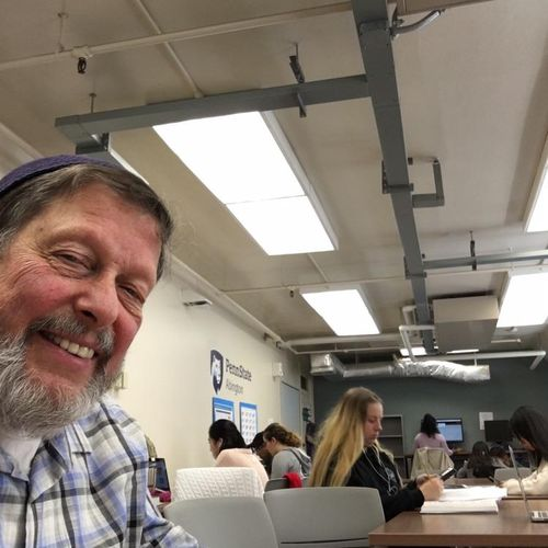 Here I am at the Learning Center at Penn State Abington where I tutor students on their college math courses on Wednesdays.