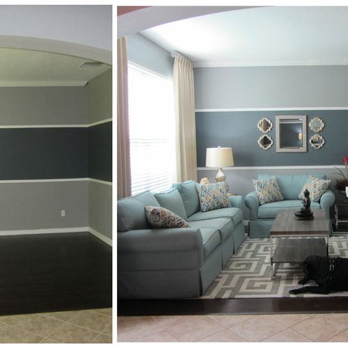 Before and After of Living Room Space in Soft Blues and Greys and a Baby Grand!
