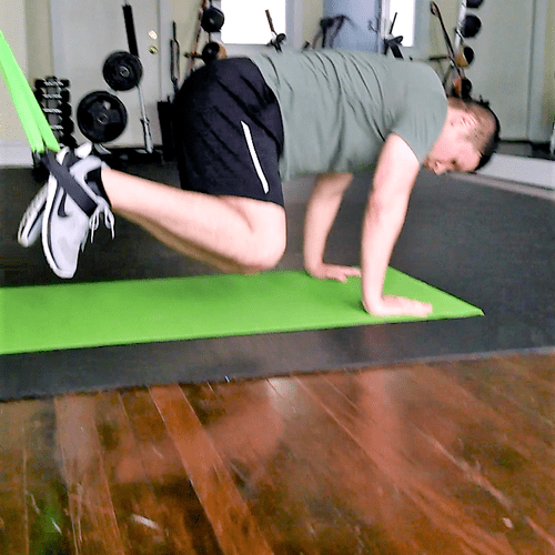 Core workout (suspended knee tucks)