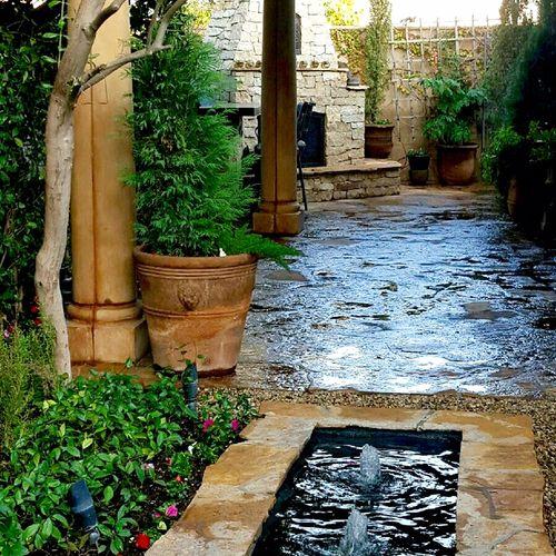 Water Feature, Landscape & Stone installation. -in Newport Beach, CA