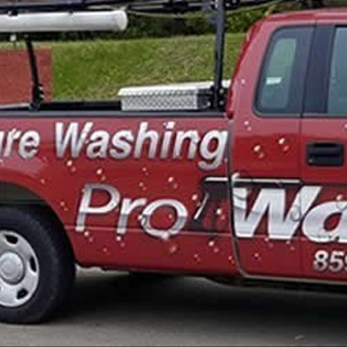 One of our pressure washing trucks