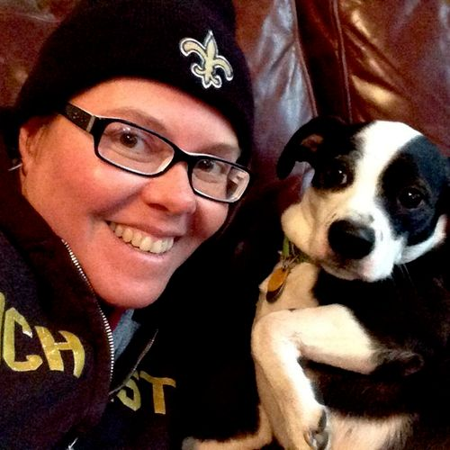 me and pee wee. she is probably my most frequent dog sitting client - her mama has to travel a lot for work.