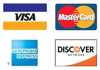 All major credit cards accepted. 3% charge on all credit transactions.  **We also offer 6 months No Payments/No Interest through PayPal Credit.