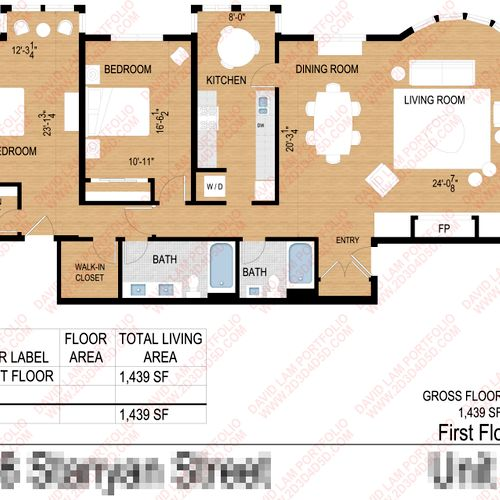 Color 2d furniture floor plan