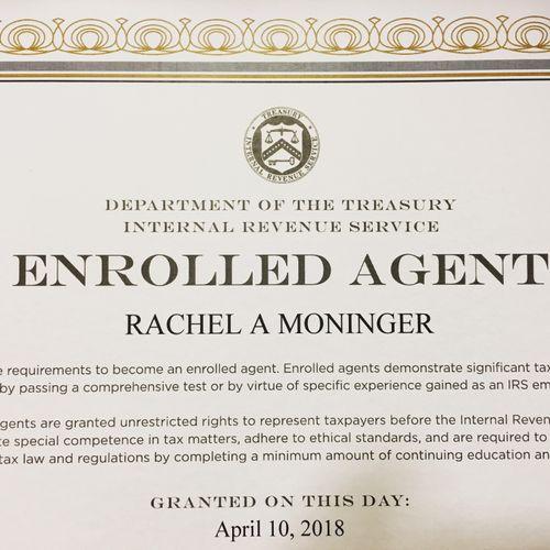 Rachel's Enrolled Agent certificate