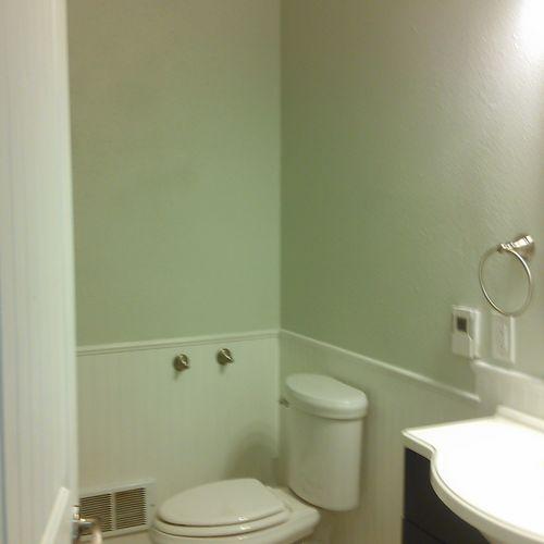 Complete bathroom remodel. New plumbing, deep tub, toilet, vanity, walls, flooring, lighting, heating, electrical.