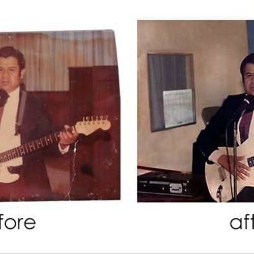 Photo restoration of a badly unevenly faded photo.