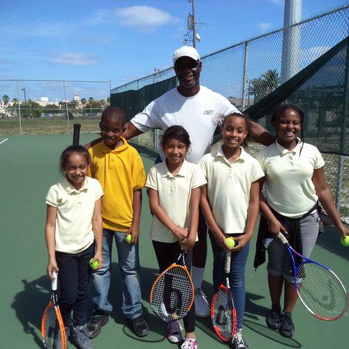 Afterschool tennis program at Bleustein Park in Hallandale Beach, Fl