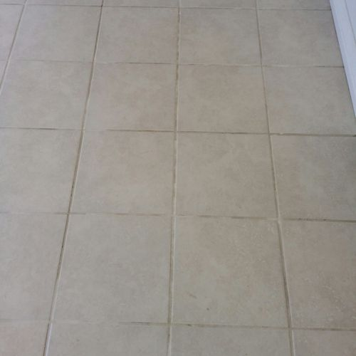Beige Tile and White grout Before Service..