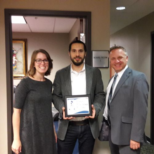 With BBB CEO Receiving our Accreditation certificate