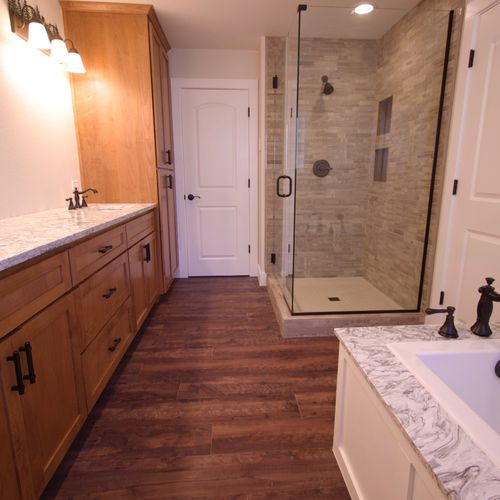 On Suite with stained shaker cabinets and bath remodel