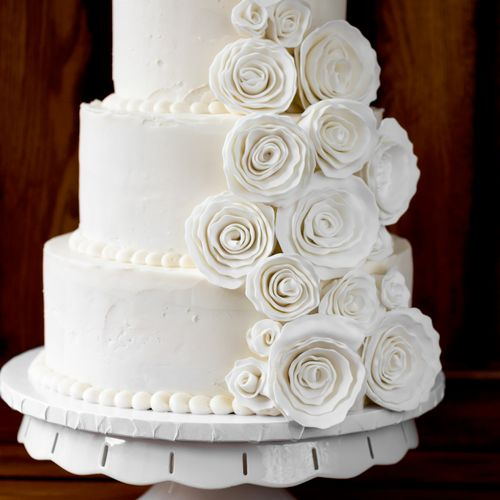 All-White Wedding Cake in Natural Texture with Ruffled Fondant Flowers