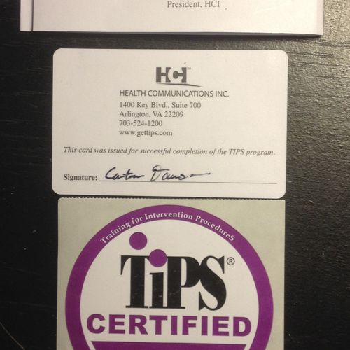 Is YOUR bartender certified?  Dr. Mix-A-Lot is certified in the nationally recognized TIPS Training Program!