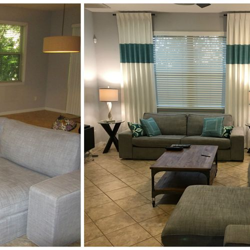 Before and after with window treatments and pillows. Makes a colorful impact! Softens the harsh corners of a window.