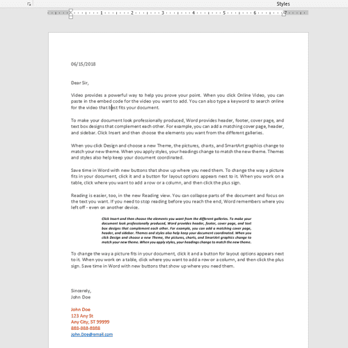 Microsoft Word Sample Letter Project
