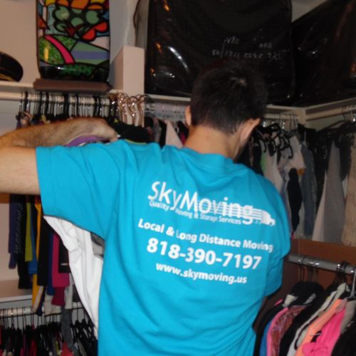 We provide free clothing wardrobe use and even hang your clothes for you!