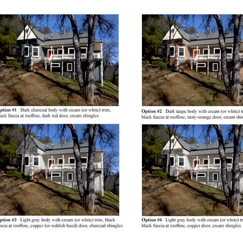 Homeowner in Auburn has trouble envisioning -- so created this tool for him to test-drive various paint options for his exterior in editing a photo I took of his own house. (In subsequent versions once we dialed in the color direction, I also added a French door they're planning, beefier columns and more contemporary railings + new fan-shaped walkway, showing him options for both flagstone as well as used brick)