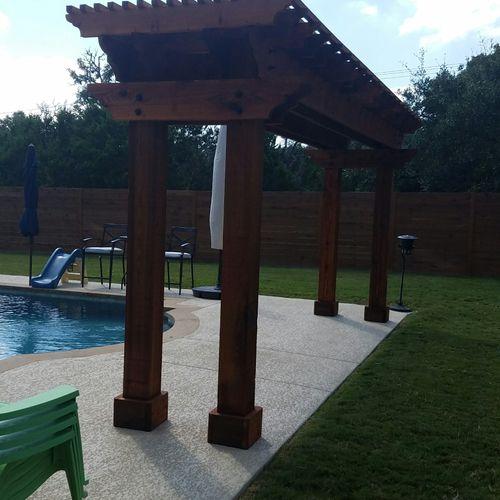 Swimming pool cedar pagoda.