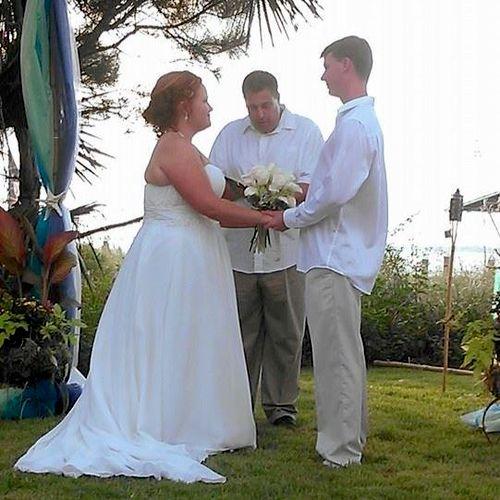 A wedding not on the beach, but near it!
