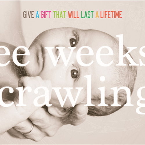 This pic is about infant massage. Three weeks to crawling is the window during which infant massage is taught.