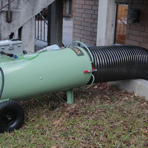 We use a propane heater that sits outside your home to perform our heat treatments.