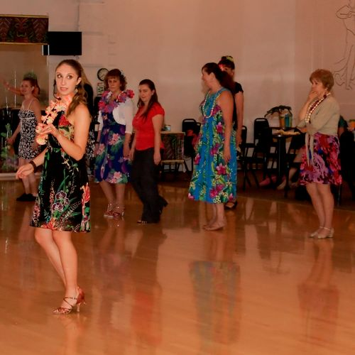 Teaching Samba at the USA Dance Luau Fundraiser