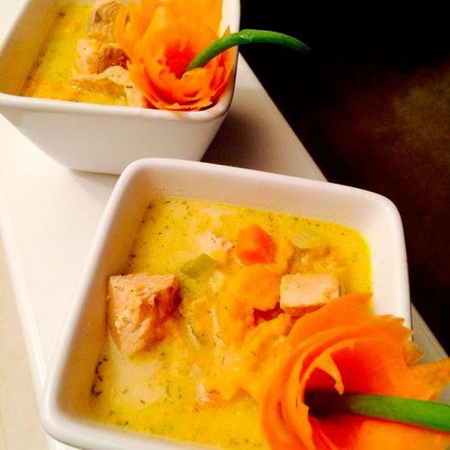 Cajun Salmon & Sweet Potato Chowder