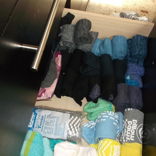 sock drawer after organizing