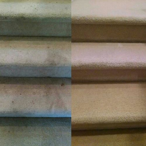 Before and after of residential carpeted stairs