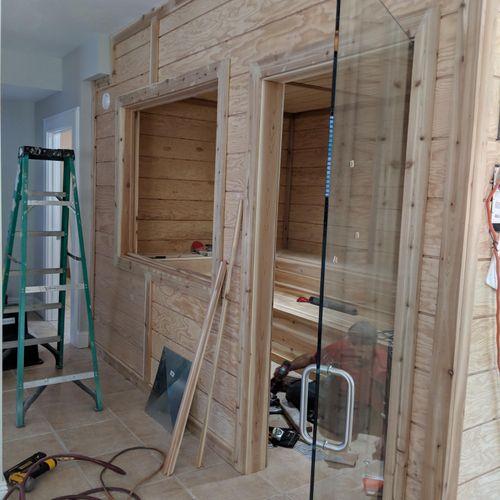 Wellness Center remodel - custom build sauna - in progress