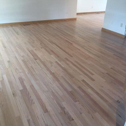 Refinished red oak hardwood