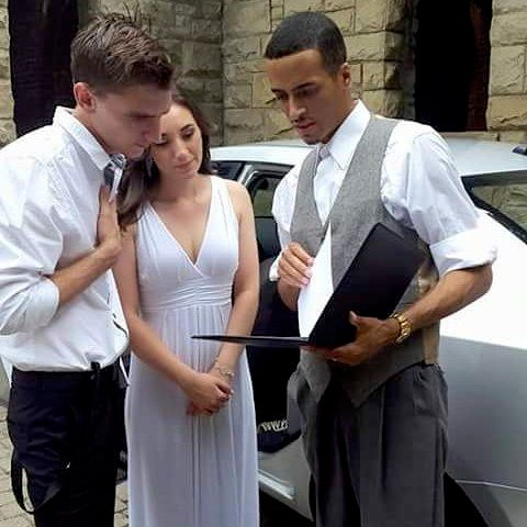 Congrats Adrian and Samantha (Bride & Groom Getting Signed Licenses @ Squires Castle Wedding In Willoughby ohio)