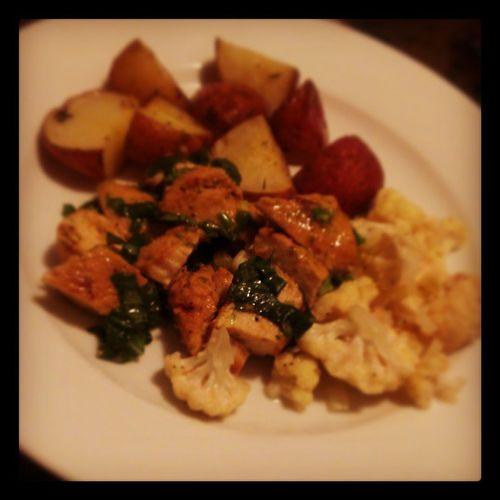 Basil lime chicken, parmesan baked cauliflower, roasted red-skin potatoes
